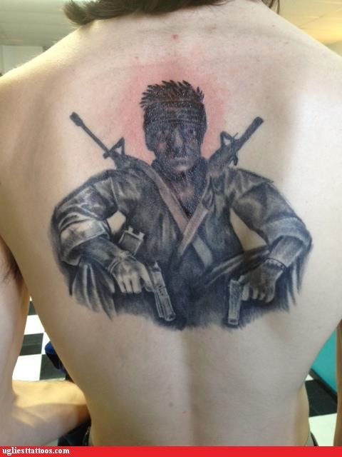army guy,back tattoos,commando