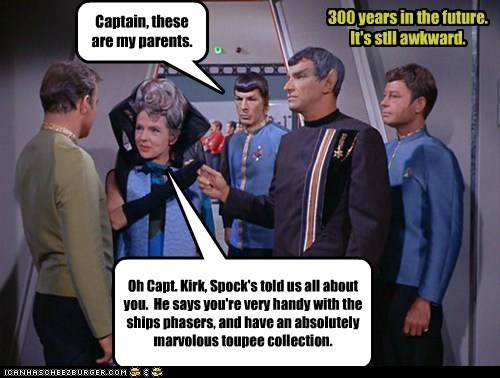 William Shatner Shatnerday Spock Leonard Nimoy Captain Kirk McCoy DeForest Kelley toupee collection Awkward parents meeting - 6545837568