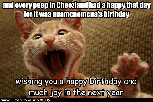 happy birthday meme with a cat saying and every peep in Cheezland had a happy that day for it was anamenomena's birthday wishing you a happy birthday and much joy in the next year