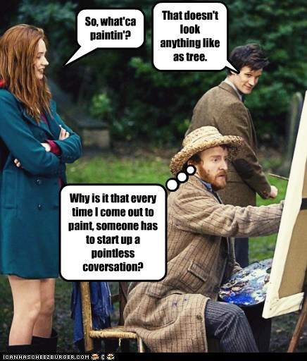 amy pond,karen gillan,Matt Smith,doctor who,the doctor,painting,Vincent van Gogh,conversation,pointless