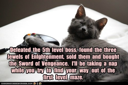 boss,captions,Cats,maze,play,skill,video game,xbox