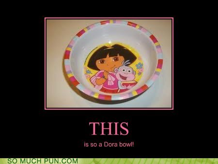 adorable,bowl,dora,dora the explorer,homophones,literalism