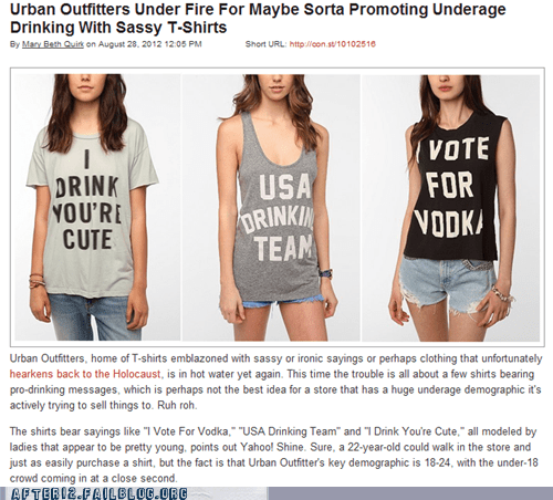 product recall tshirts underage drinking urban outfitters - 6546884352