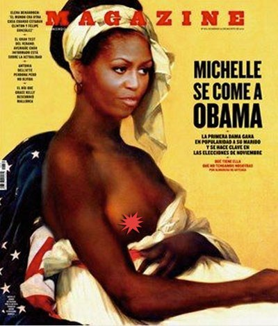 magazine cover,michelle obama as a slave