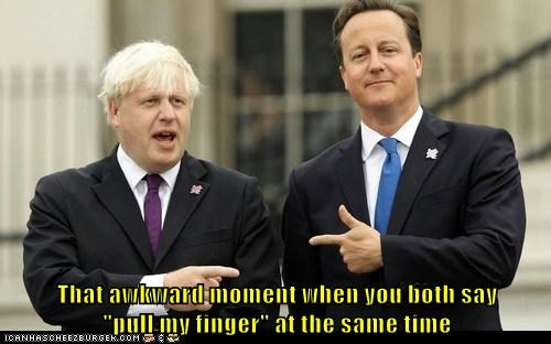boris johnson,david cameron,jokes,pointing,pull my finger,same time,that awkward moment