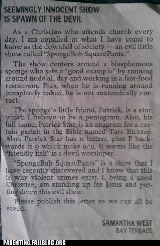 christianity,newspaper,satan,SpongeBob SquarePants