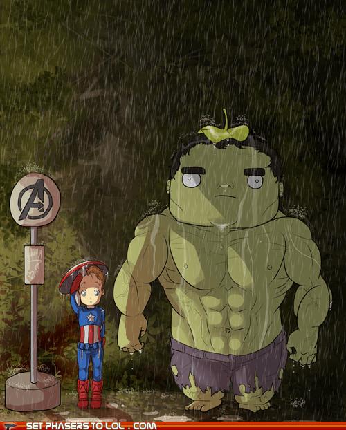 avenger,captain america,Fan Art,Hayao Miyazaki,hulk,masup,my neighbor totoro