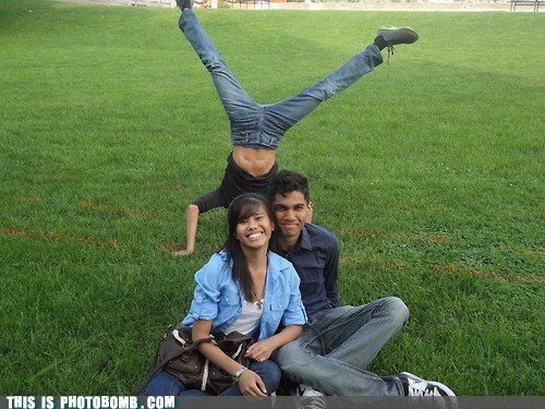 breakdancing cartwheel couple outside