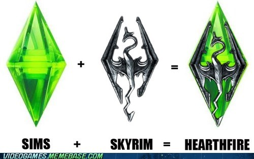 DLC,hearthfire,logo,Skyrim,The Sims