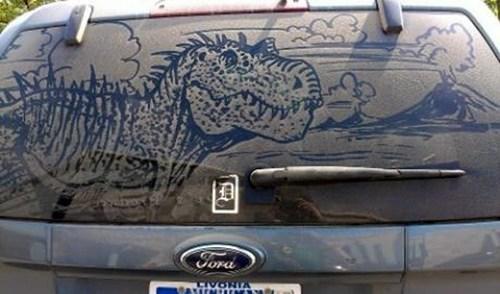 car art,dinosaurs,t rex,volcano