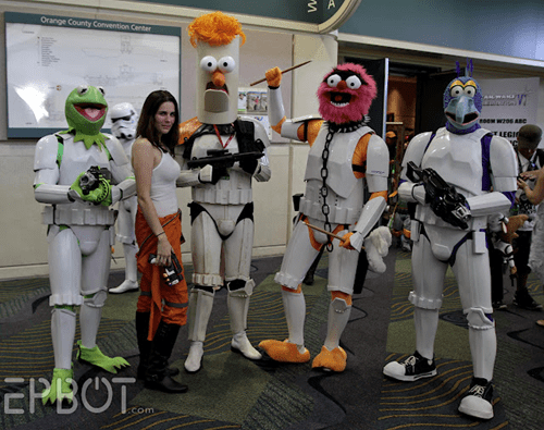 animal,beaker,cosplay,gonzo,kermit the frog,muppets,star wars,star wars celebration,stormtrooper