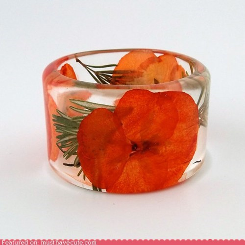 bracelet,flowers,hyacinth,plastic,resin,rosemary