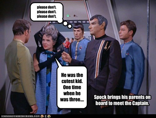 Captain Kirk,embarrassing,Leonard Nimoy,parents,please-dont,Shatnerday,Spock,stories,William Shatner