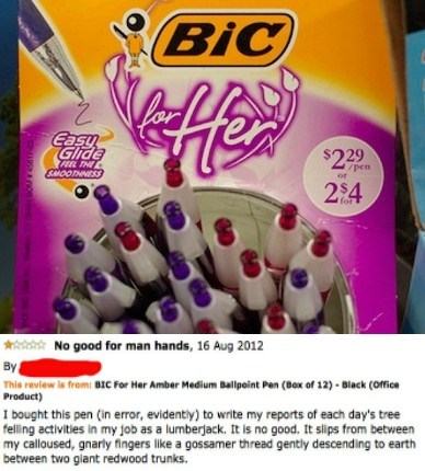 amazon reviews,BIC for her,pens,sexism