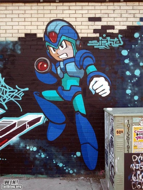 capcom hacked irl mega man nerdgasm Street Art video games - 6548137728