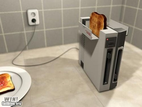 nerdgasm,NES,nintendo,team breakfast food,toast,toaster,video games