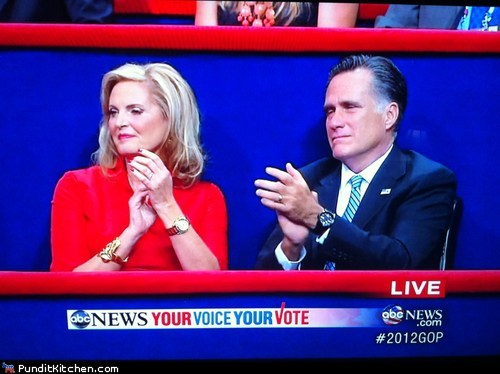 angry anne romney bored Chris Christie Mitt Romney speech tired