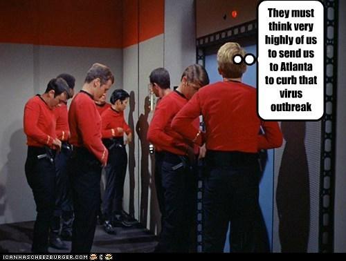 Atlanta dying outbreak red shirts Star Trek virus The Walking Dead zombie - 6548406272