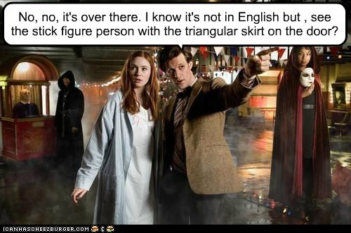 amy pond,bathroom,doctor who,english,karen gillan,Matt Smith,pointing,stick figure,symbols,the doctor