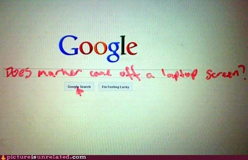 computer,google,lap top,marker