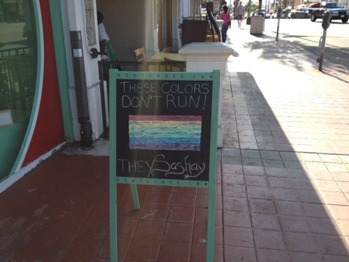 clever,gay-friendly sidewalk sig,puns,rainbow,signs,the daily what,win