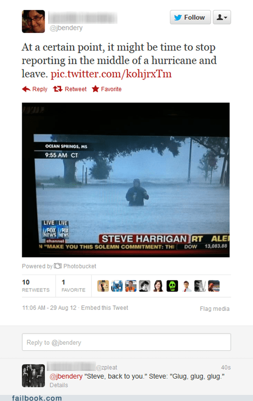 fox news,gulf coast,hurricane,hurricane isaac,journalism,steve harrigan,storm,tv reporter,tweet,twitter