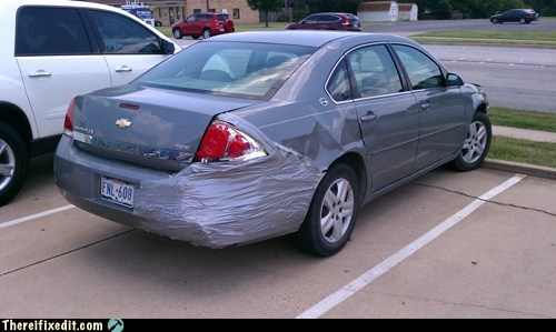 bumper,duct tape,gray,gray cars