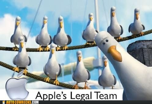 apple legal team,finding nemo,mine,Samsung,seagulls