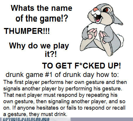 drinking game of the week drinking games instructions thumper