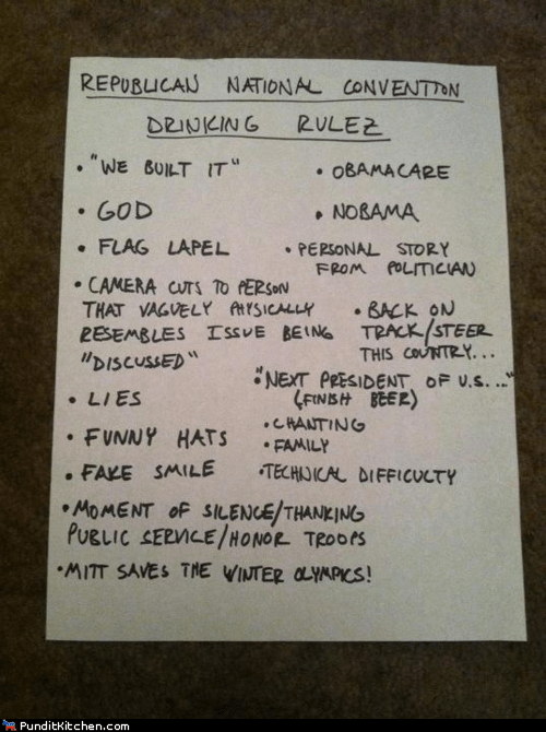 after 12 beer drinking game flag god nobama obamacare Party politics rnc rules we built it