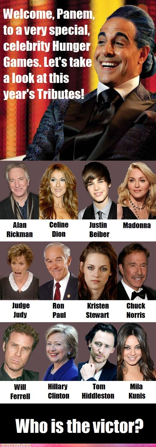 actor,Alan Rickman,celeb,celine dion,chuck norris,funny,justin bieber,kristen stewart,Movie,stanley tucci,hunger games