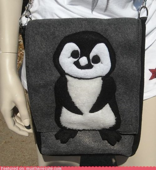 bag cute felt grey penguin purse
