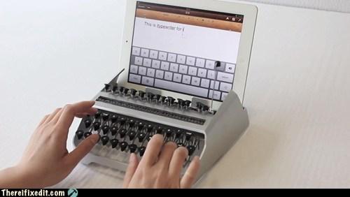 hipsters,ipad,ipad typewriter,typewriter
