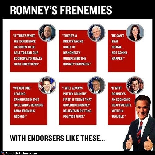 endorsement frenemies Mitt Romney past quotes