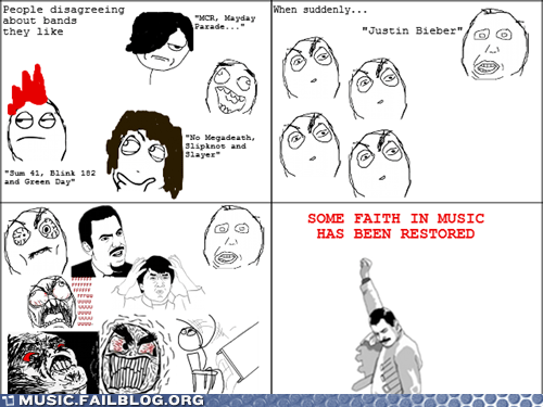 bands,green day,justin bieber,MCR,Rage Comics,slayer