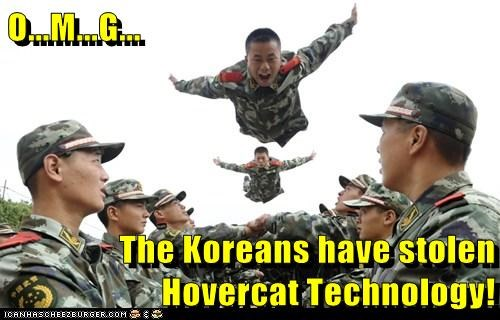 army,doomed,flying,HoverCat,North Korea,omg,stolen,technology