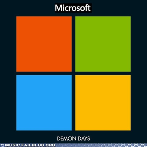 album cover,demon days,Gorillaz,logos,microsoft
