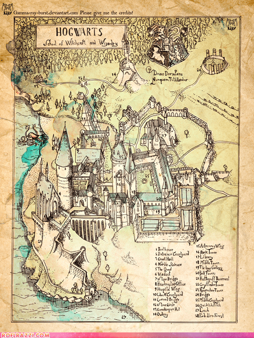 Illustrated map of Hogwarts from the Harry Potter series.