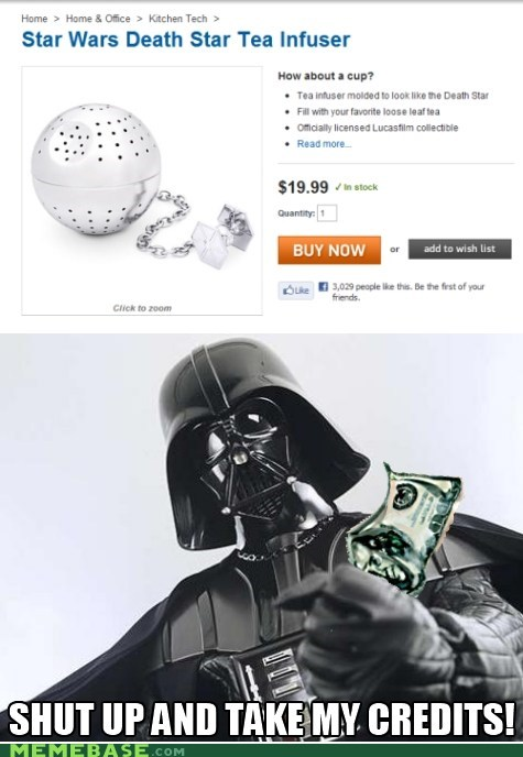 credits,darth vader,Death Star,star wars,tea