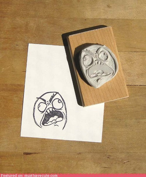 feels Rageface rubber stamp stamp - 6552119040