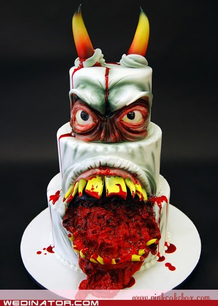cake devil horns red velvet scary