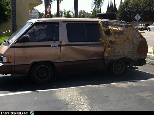 aerosol,fire,minivan,previa,van