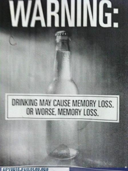 alcohol may cause memory loss warning