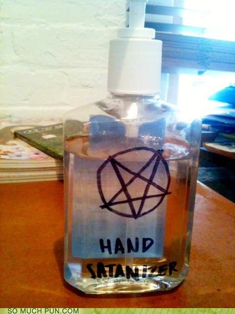 pentagram,sanitizer,satan,similar sounding