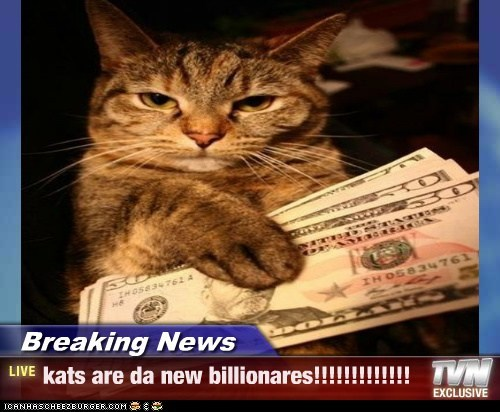 Breaking News - kats are da new billionares!!!!!!!!!!!!!