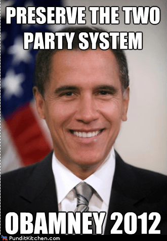 2012,barack obama,election,mashup,Mitt Romney,preserve,two party system