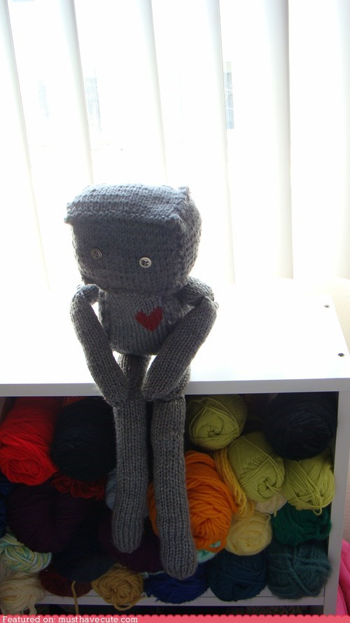 buttons,heart,Knitted,love,robot,yarn