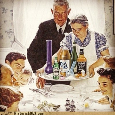 alcohol,beer,booze,drugs,family,meal,norman rockwell,thanksgiving
