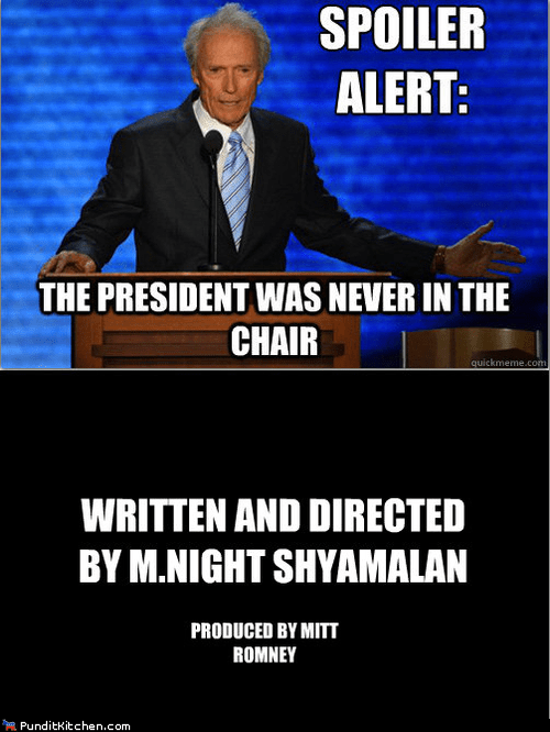 chair,Clint Eastwood,m night shyamalan,Mitt Romney,president,rnc,twist