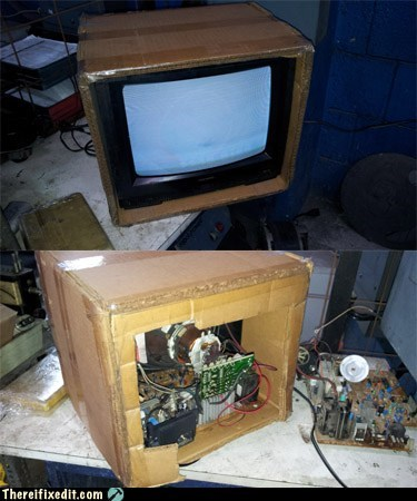 cardboard TV tv box tv set